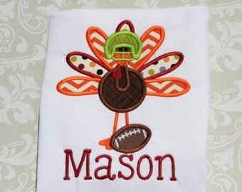 Football Turkey Applique Shirt - Boys - Thanksgiving - Touchdown - Fall