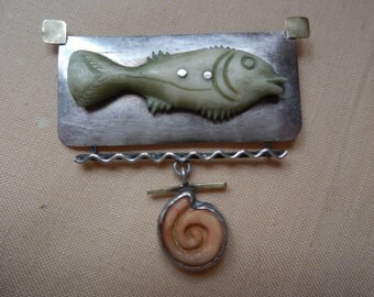 Artsy sterling silver fish brooch!