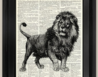 """Lion ink drawing art print. Upcycled vintage book page art print. Print on book page.   Fits 8""""x10"""" frame."""
