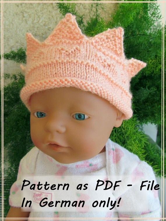 Knitted Baby Crown Pattern : Pattern for knitted baby crown in German only