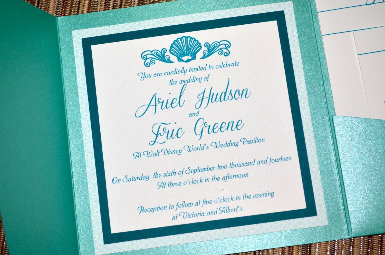 Fairy tale wedding invitations the little mermaid pocket fold monicamarmolfo Images