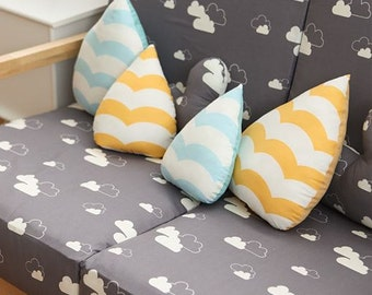 Cloud Pattern Gray Color Cotton Fabric by Yard