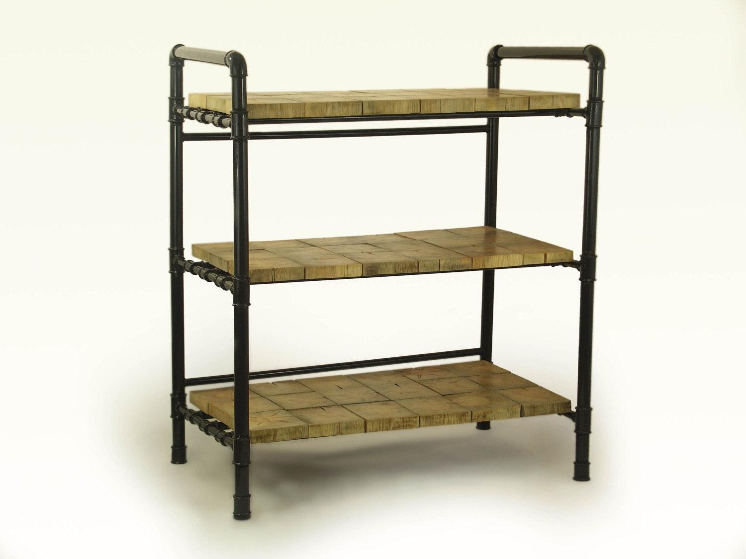 Industrial shelves Loft shelving unit gas pipes by FreeTreeStudio
