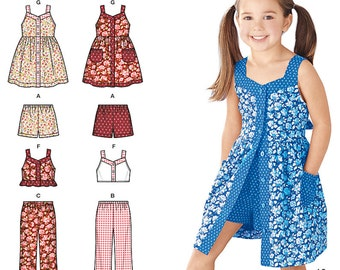 Simplicity Sewing Pattern 1453 Child's Dress, Top, Pants or Shorts and Hat