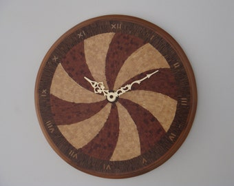 """Wall clock """"sails""""-handmade with wooden mosaic's technique"""