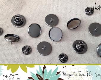 Lapel Pins, 20 pins, 16mm, Lapel pin, Tie Tack, Antique Silver, Bezel Blank Pin Back Brooch Collar Clip, Makes 20 Pins (WS 16-AS20)