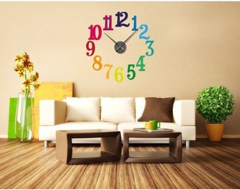 Colorful Numbers wall decal clock, sticker, mural, vinyl wall art