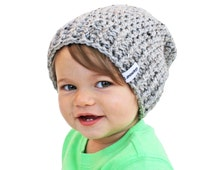 Grey Baby Beanie Crochet Slouch Baby Beanie Any Size 0-8 YearsFitted or Slouchy style