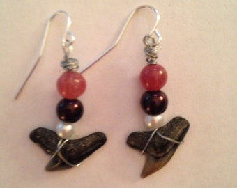 Sharks Teeth Dangle Earrings - Homemade Jewelry - Homemade Earrings - Dangle Earrings - Shark Tooth Jewelry