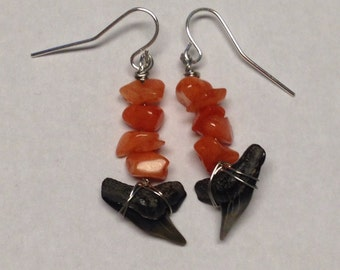 Sharks Tooth Earrings - Dangle Earrings - Orange Earrings - Homemade Jewelry - Sharks Tooth Jewelry - Sharks Teeth Jewelry