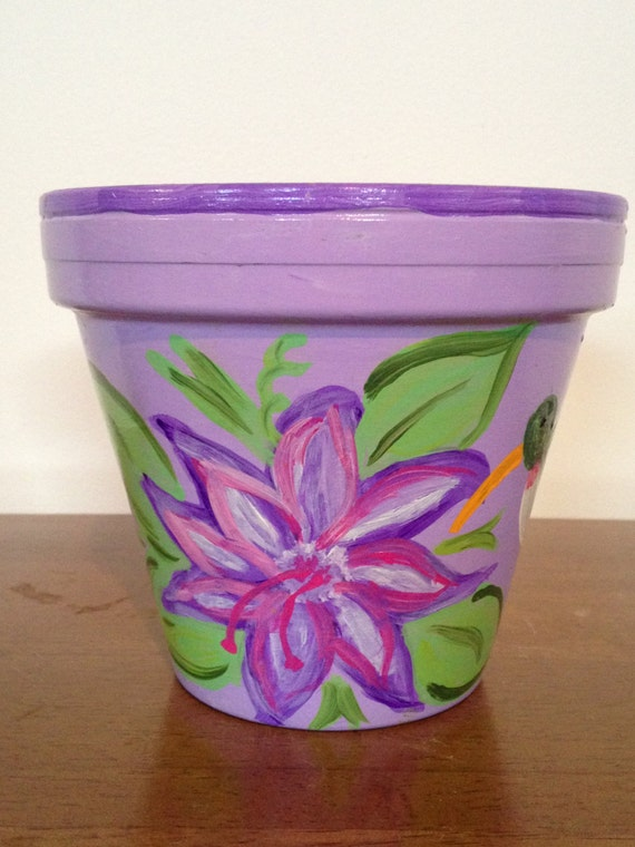 hand painted 6 inch decorative flower pot floral design