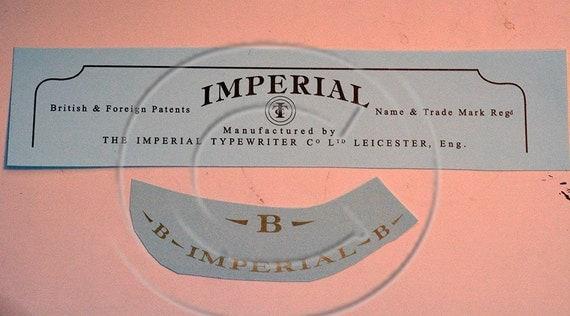 Imperial B Typewriter Water Slide Decal set