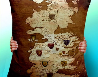 Game of Thrones Map Vintage Houses  - Cushion / Pillow Cover / Panel / Fabric