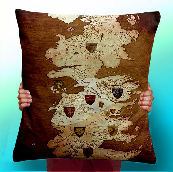 game of thrones map vintage houses cushion pillow cover. Black Bedroom Furniture Sets. Home Design Ideas
