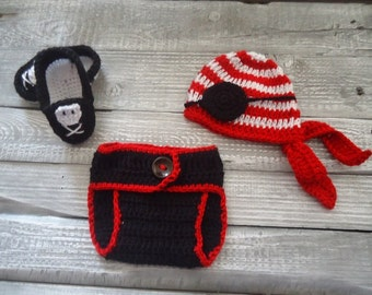 Newborn Pirate Hat Eye Patch and Pants Crochet Photo Prop Set Costume