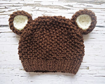 Crochet teddy bear Hat, Newborn bear hat, Baby teddy bear hat, Brown teddy bear hat