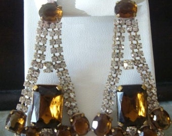 Topaz And clear vintage austrian glass  earrings