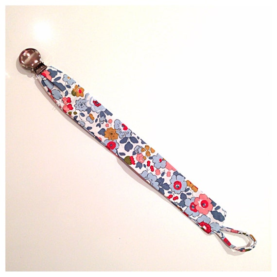 Pacifier binkie holder clip liberty fabric betsy print Copy