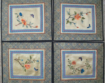 Reduced - Vintage Chinese Oriental Silk Embroidered Floral Mats - Set of 4
