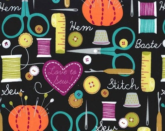UK Shop: Love to Sew on Black Michael Miller Cotton Fabric