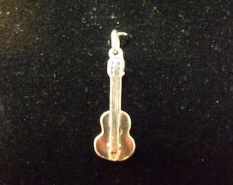 Sterling Silver Guitar 3D Charm  - .925  2.2 grams