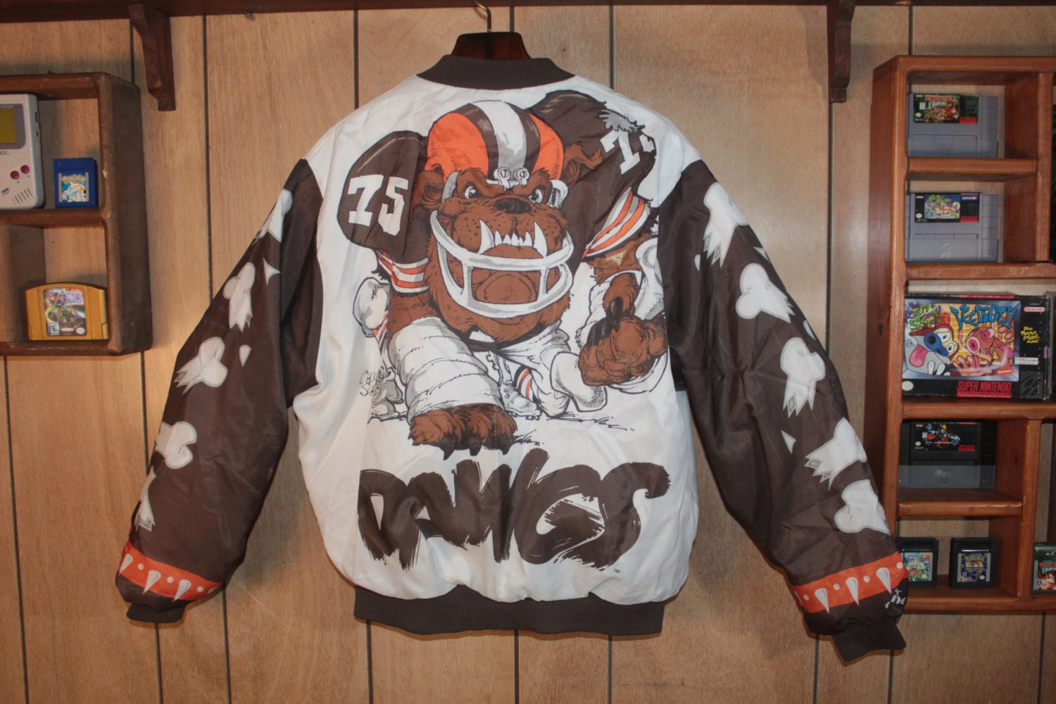 vintage cleveland browns chalk line big jacket fanimation