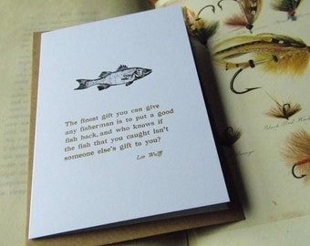 Letterpress blank card salmon fly-fishing quote Lee Wulff white recycled A6