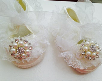 Ivory  satin baby shoes --ivory christening and baptism crib shoes--newborn cream lace shoes