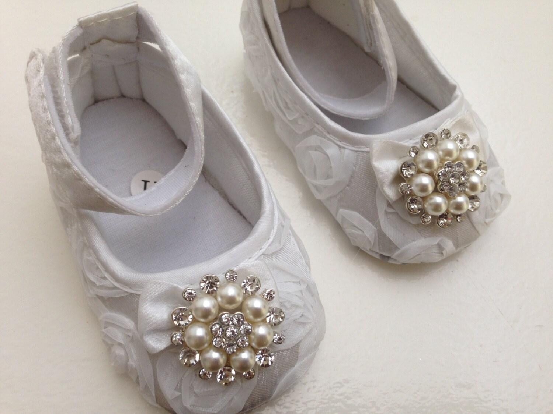 white rosette satin baby shoes christening and baptism crib