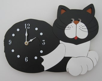 Black and White Cat Wall Clock - 34.95