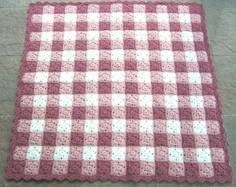 Baby Girl Blanket, Crocheted Gingham Afghan, Pink and White Baby Afghan