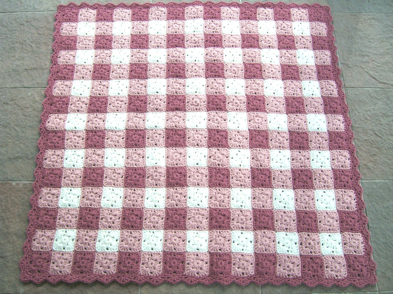 Baby Girl Blanket Crocheted Gingham Afghan Pink And White