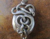 Antique Victorian snake pendant - hallmarked silver Gothic Wiccan Steampunk necklace, Harry Potter Game of Thrones fine jewelry
