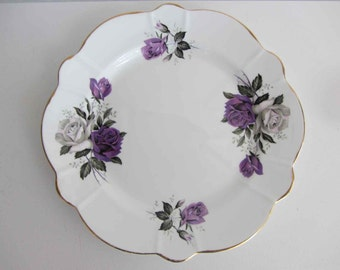 Vintage Windsor English plate Purple roses, Windsor Bone China, Made in England