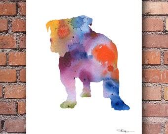 Bulldog Art Print - Abstract Watercolor Painting - Wall Decor
