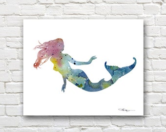 Mermaid Art Print - Abstract Watercolor Painting - Fantasy Art - Wall Decor