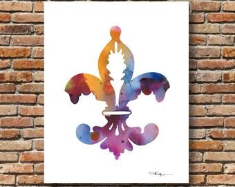 Fleur De Lis - Art Print - Abstract Watercolor Painting - Wall Decor