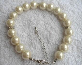 Pearl Bracelet,pearl And Rhinestone Bracelet,Wedding Jewelry,Pearl Jewelry,Bridesmaid Bracelet