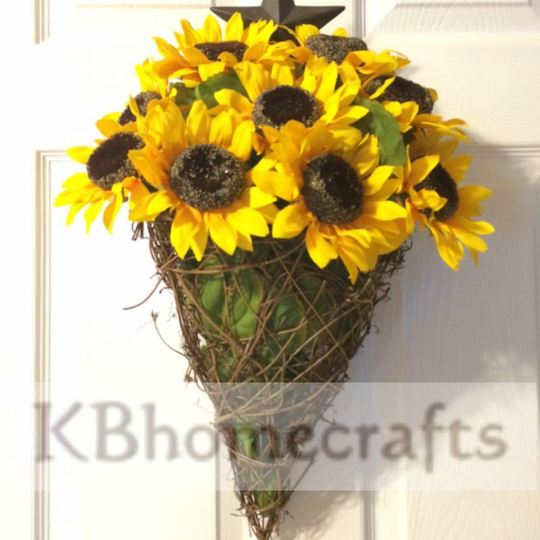 Sunflower Basket Sunflower Wreath Summer Hanging Flower