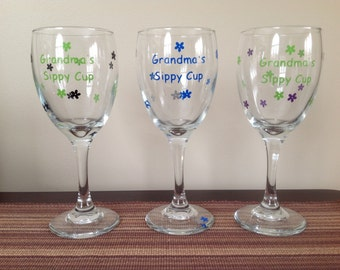 Grandma's Sippy Cup Wine Glass in Vinyl