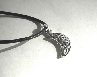 Moon Charm Necklace, Moon Sterling Silver Charm, Black Leather Cord Moon Necklace, Moon Jewelry, Everyday Necklace