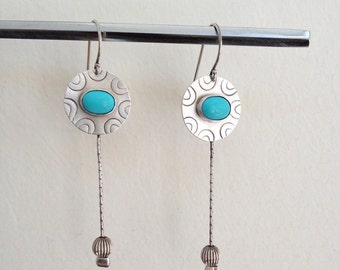 Turquoise earrings, Sterling silver, Handmade, Dangle earrings, Ethnic earrings, Long earrings, Textured Silver, Turquoise stones