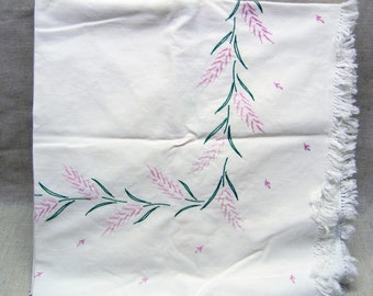 Hand Embroidered Card Table Cloth, Vintage