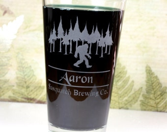 Personalized Sasquatch Home Brew Pint glass for Bigfoot lovers.  Homebrew, personalized, logo art, brew art, Beer Glass, Beer Gift, Beer
