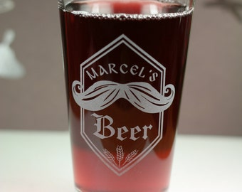Personalized Home Beer Pint with Mustache and wheat.  Homebrew, Beer, Beer Gift, , Beer Glass, Beer Tools , Beer Glass, Beer Tools