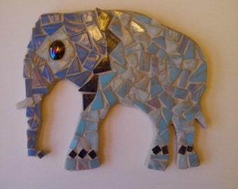 Nellie the Elephant Mosaic Blue Hanging Ornament