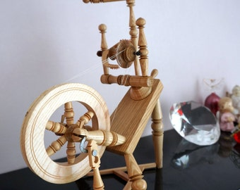 Spinning Wheel Miniature, Functional, Hand crafted and  Fits in your Hand.