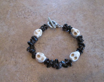 Crystal Skull Bracelet with Smokey Quartz beads