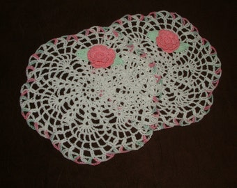 New Hand Crocheted Doilies set of 2 with roses spring Easter pink