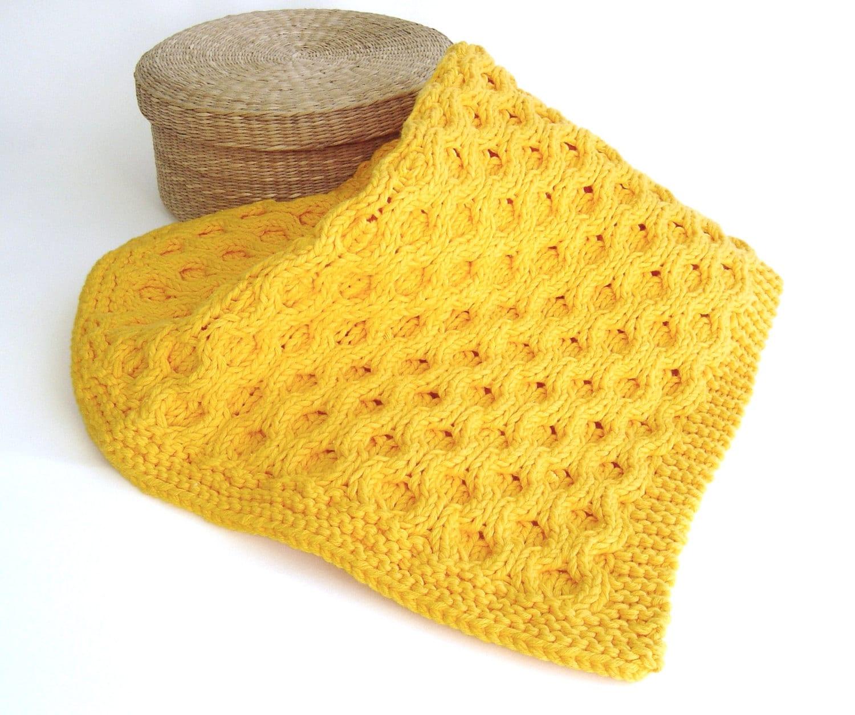 KNITTING PATTERN Blanket Honeycomb aran Afghan Pattern Easy